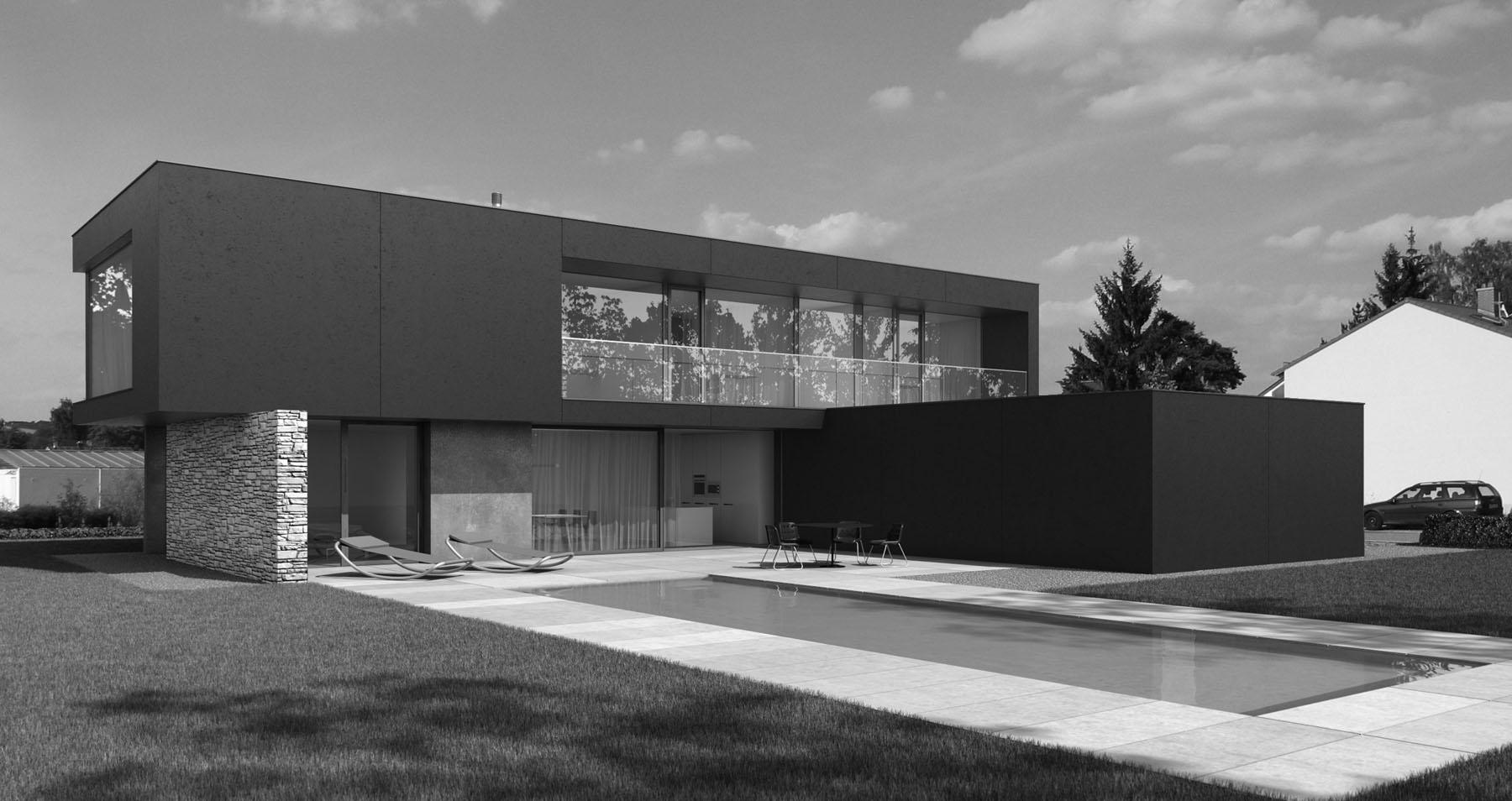 Entwurf eines modernen Einfamilienwohnhauses in Regensburg