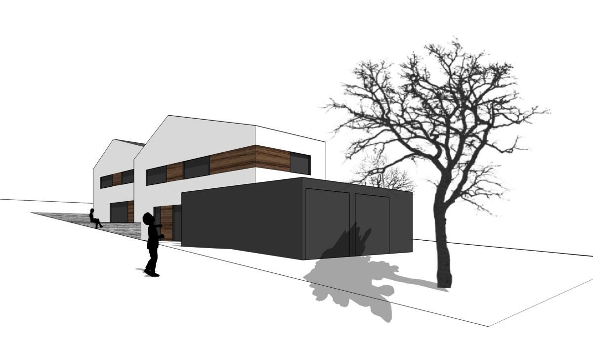 Neubau von zwei Doppelhaushälften